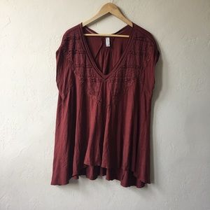 Free People V Neck Slouchy Top M
